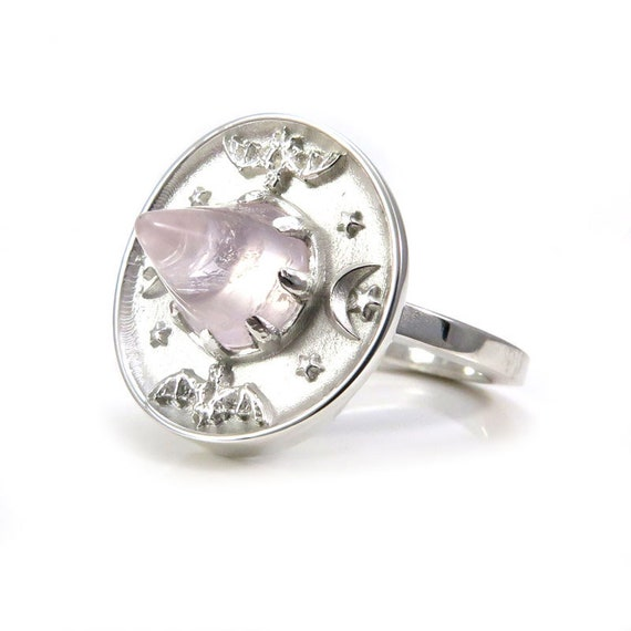 White Witch Rose Quartz Witch Hat Ring with Bats, Moons and Stars - Limited Edition