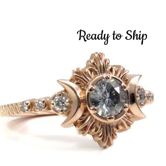 Ready to Ship Size 6 - 8 - Clair De Lune Grey Moissanite Moon Fire Engagement Ring - 14k Rose Gold with Diamonds
