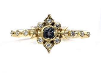Natural Alexandrite Moon and Star Engagement Ring with Diamonds - Delicate and Dainty Fine Jewelry