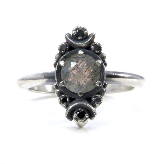 Gothic Luna Labradorite Engagement Ring with Black Diamonds - Sterling Silver