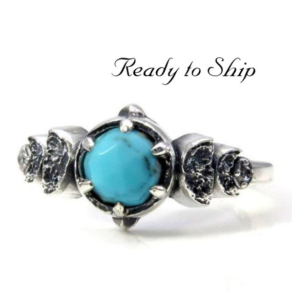 Ready to Ship Size 6 - 8 - Moon Phase Rose Cut Turquoise and White Diamond Sterling Engagement Ring
