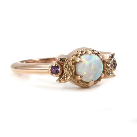 Lab Opal Moon Ring - Triple Moon Goddess Engagement Ring - Pick Your Side Stones