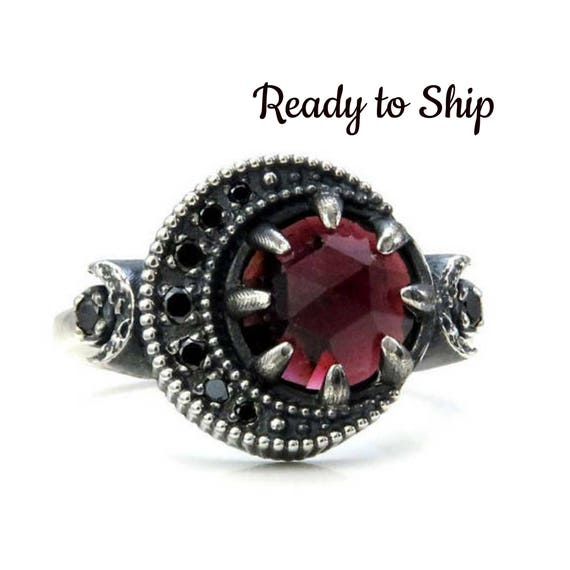 Ready to Ship - Size 6 - 8 Garnet Blood Moon Ring - Sterling Silver Jewelry with Black Diamonds