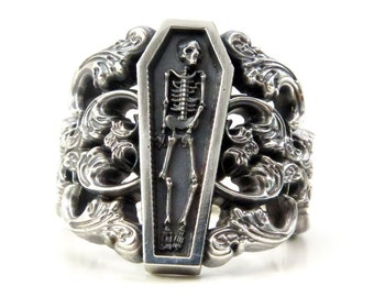 Memento Mori Ring with Baroque Silver Scrolls Skeleton Mourning Jewelry - Spooky Halloween Jewelry