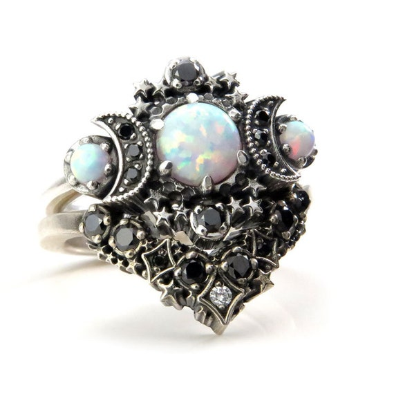 Lab Opal Cosmos Moon and Star Ring Set - Sterling Silver with Black & White Diamonds - Gothic Lunar Engagement