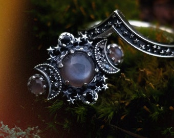 Champagne Moonstone Cosmos Moon and Star Ring - Sterling Silver with Black or White Diamonds - Pagan Fine Jewelry
