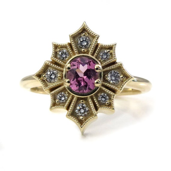 Ready to Ship Size 6 - 8 - Art Deco Star Yellow Gold Engagement Ring with Pink Spinel and White Diamonds