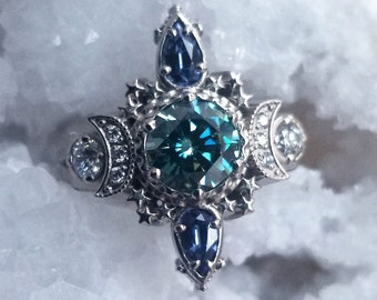 Deluxe Cosmos with Blue Green Moissanite and Chatham Sapphire Pears - Diamond Alternative Moon Engagement Ring