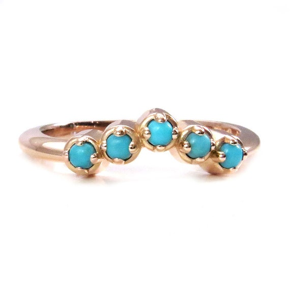 Chevron Turquoise Stacking Gold Ring - Rose, Yellow or White Gold - Handmade Modern Jewelry
