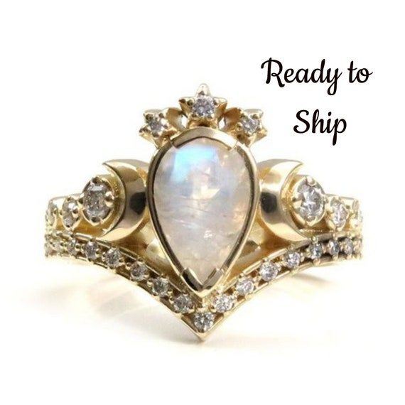 Ready to Ship Size 6 - 8 - Rainbow Moonstone Priestess Diamond Engagement Ring with White Diamonds - Celestial Wedding Ring