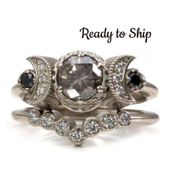 Ready to Ship Size 6 - 8 -  Smoky Salt & Pepper Diamond Hecate Moon Engagement Ring Set - 14k Palladium White Gold