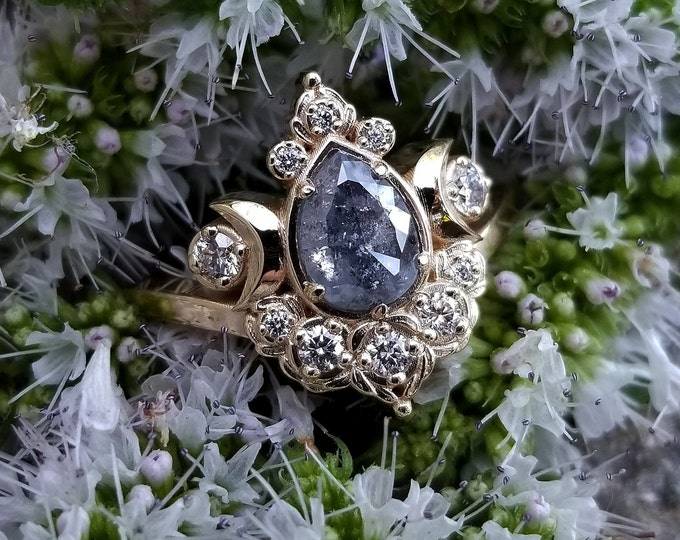 Featured listing image: Ready to Ship Size 6 - 8 - Sage Moon Engagement Ring with Salt & Pepper Pear Diamond - 14k Yellow Gold