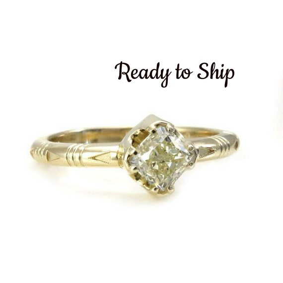 Ready to Ship Size 6-8 - 14k Yellow Gold Solitaire with Natural Light Yellow Cushion Diamond