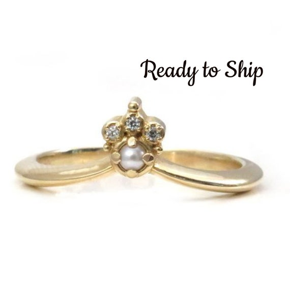 Ready to Ship Size 6-8 - 14k Yellow Gold Seed Pearl & Diamond Chevron Wedding Band