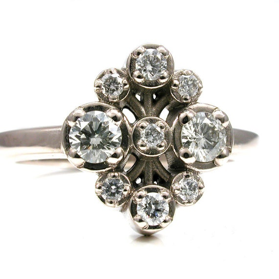 Ready to Ship Size 4.5 - 6.5 - Diamond Bouquet Modern Engagement Ring - 14k Palladium White Gold