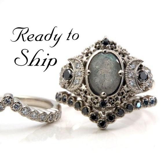 Ready to Ship Size 6 - 8 - Starseed Engagement Ring Set - Oval Labradorite with Black and White Diamonds - 14k Palladium White Gold Gold