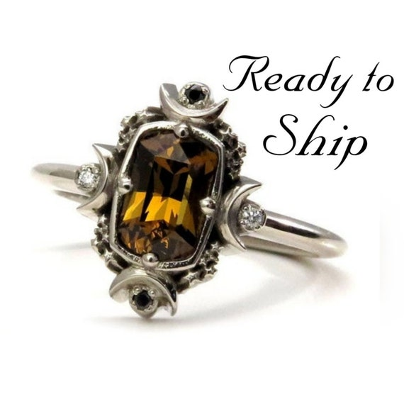 Ready to Ship Size 6 - 8 - Artemis Moon Engagement Ring Set - Champagne Mali Garnet Cushion with Black and White Diamonds