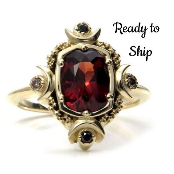 Ready to Ship Size 6 - 8 - Artemis Moon Engagement Ring - 1.80 Carat Malaya Garnet with Black & Champagne Diamonds - 14k Yellow Gold