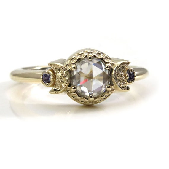 Size 6-8 Ready to Ship - Rose Cut Forever One Moissanite with Chatham Alexandrite Sides - 14k Yellow Gold Engagement Ring