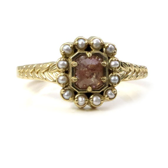 Rustic Emerald Cut Diamond Engagement Ring with Grey Seed Pearl Halo - Rose Cut Diamond Ring