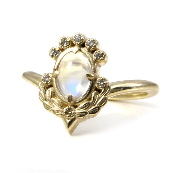 Oval Moonstone Engagement Ring with Sage Leaves and Champagne Diamonds - Limited Edition