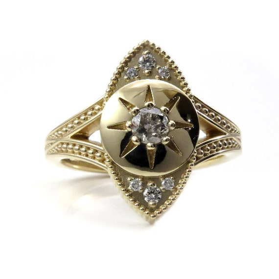 Ready to Ship Size 6 - 8 - The Seer - Salt & Pepper Diamond Evil Eye Ring with Diamonds and Millgrain - 14k Yellow Gold