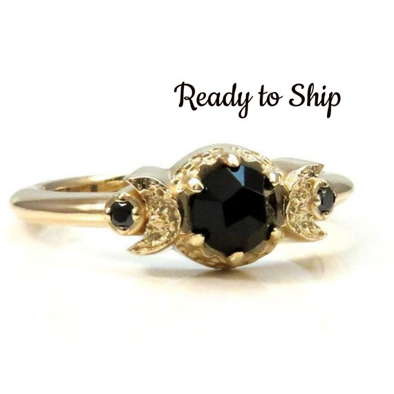 Ready to Ship Size 5 - 7 - Yellow Gold Crescent Moon Gothic Engagement Ring - Rose Cut Spinel with Black Diamonds