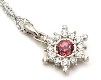 Peach Spinel & Diamond Snowflake Pendant - 14k Palladium White Gold - Ready to Ship
