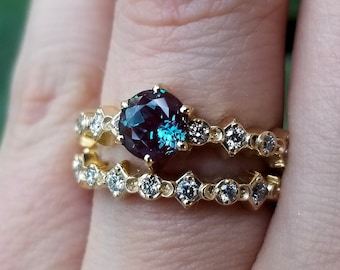 Mini Moon Chatham Alexandrite Diamond Engagement Ring Set  - Black or White Diamonds - 6 Prong Crescent Moon Jewlery
