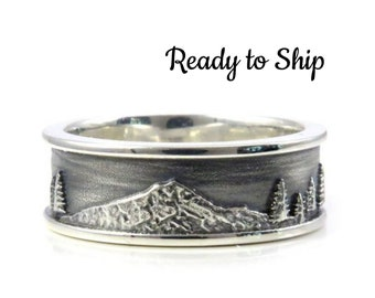 Ready to Ship Size 10 - 10.5 Mens Mountain Hood Ring with Trees
