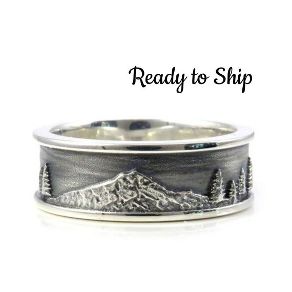 Size 10 - 10.75 Mens Mountain Hood Ring with Trees - Ready to Ship