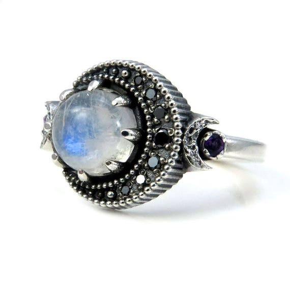 Moonstone Moon Ring   Sterling Silver Boho Engagement Ring   Black Diamonds And Amethyst by Etsy