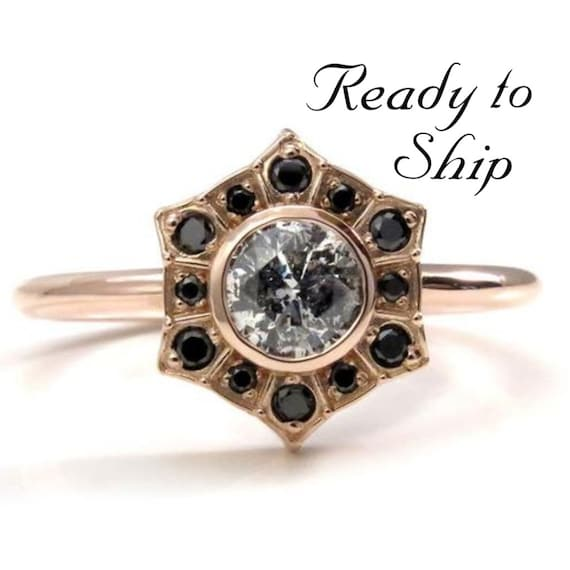 Ready to Ship Size 6 - 8 - Salt & Pepper Diamond Art Deco Halo Engagement Ring with Black Diamond Halo - 14k Rose Gold