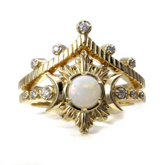 Lunar Cathedral Opal Engagement Ring Set - Diamonds and Yellow Gold