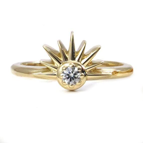 Diamond Sunshine Ring - Art Deco Yellow Gold Sun Engagement Ring