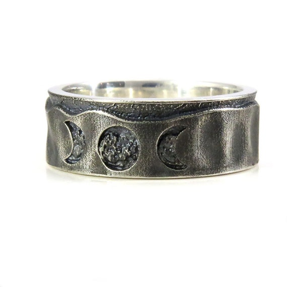 Mens Moon Phase Wedding Band - Oxidized and Sandblasted Sterling Silver