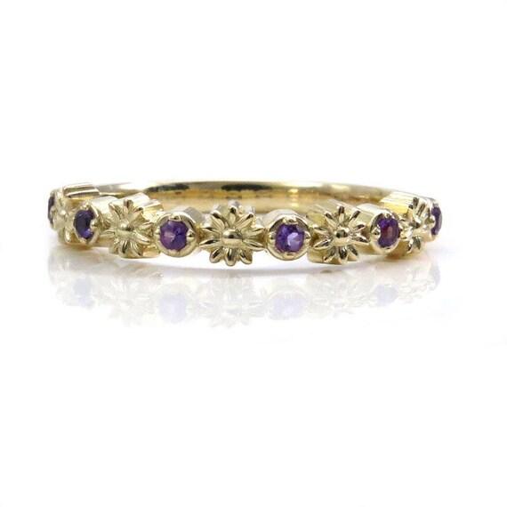 Gold Daisy and Amethyst Half Eternity Ring - 14k Gold Flower Wedding Band