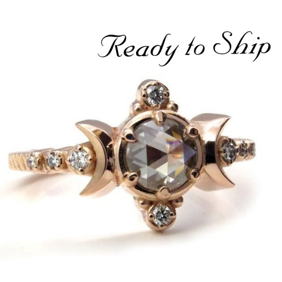 Ready to Ship - Rose Cut Gray Moissanite and Diamond Compass Moon Ring - 14k Rose Gold - Size 7