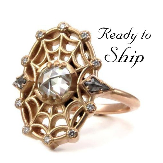 Ready to Ship Size 6-8 Spider Baby Rose Cut Moissanite and Diamond Spider Web Ring 14k Rose Gold