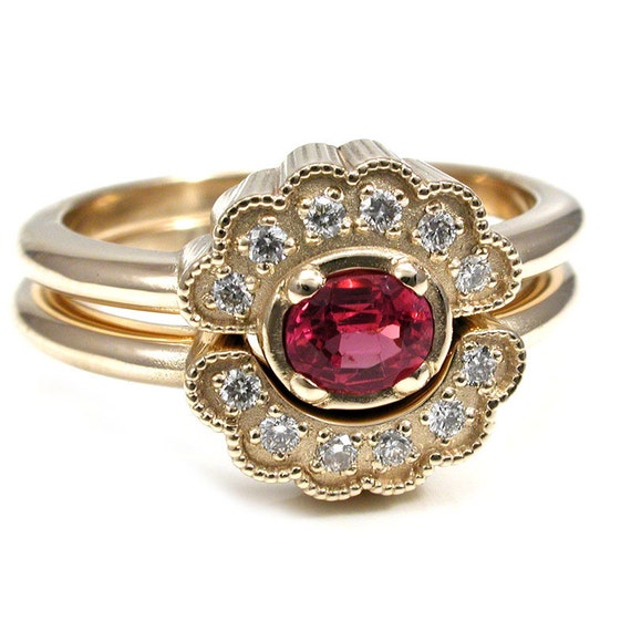 Hot Pink Oval Spinel Engagement Ring set with Scalloped Diamond Halo - 14k Yellow Gold Stacking Wedding Rings READY TO SHIP Size 5-7