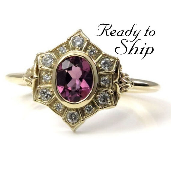 Ready to Ship Size 6 - 8 - Oval Pink Spinel Art Deco Halo Engagement Ring - Icey Diamond Halo - 14k Yellow Gold