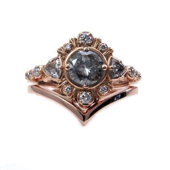 Galaxy Diamond Bohemian Engagement Ring with Diamond Trillions and Tiny Diamonds with a Chevron Wedding Band