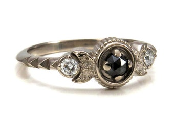 Moon Phase Engagement Ring - Black Rose Cut Diamonds and White Diamonds - 14k Palladium White Gold