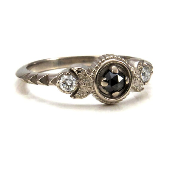 Moon Phase Engagement Ring - Black Rose Cut Diamonds and White Diamonds - 14k Palladium White Gold
