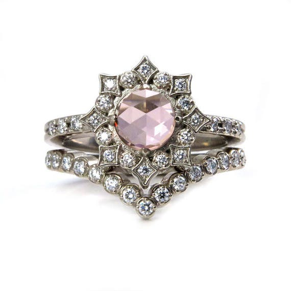 Diamond Mandala Engagement Ring Set with Lab Rose Cut Morganite Center Stone