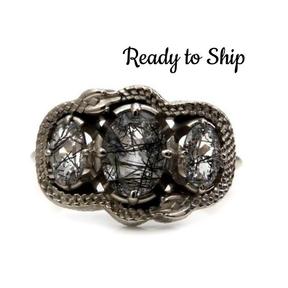 Ready to Ship Size 7 - 9 - Double Ouroboros Rutile Quartz 3 Stone Oval Gothic Engagement Ring - 14k Palladium White Gold