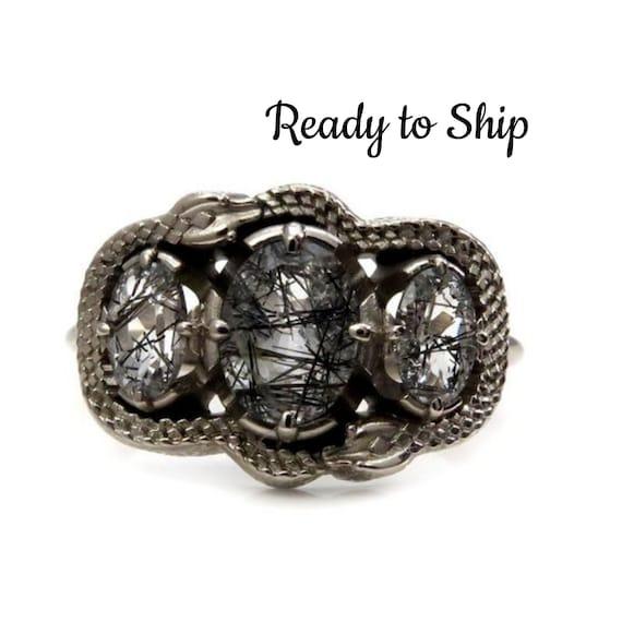 Ready to Ship Size 7 - 9 - Double Ouroboros Rutile Quartz 3 Stone Oval Gothic Engagement Ring - 14k Palladium White Gold