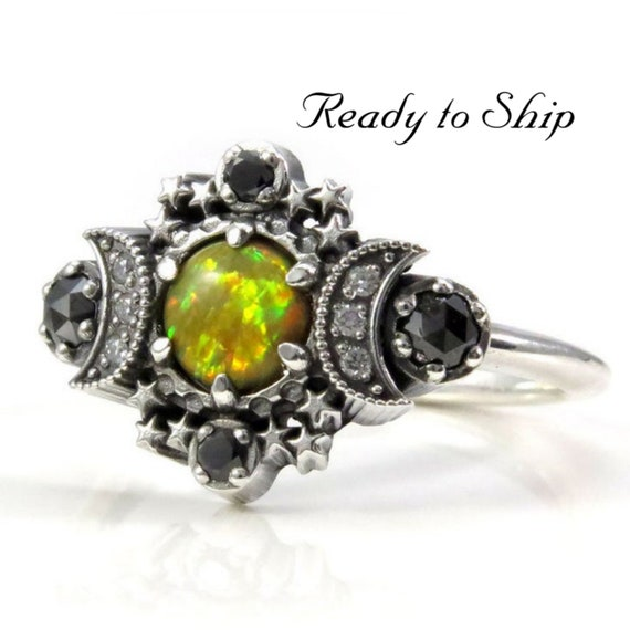 Ready to Ship Size 8 - 10  - Electric Yellow Lab Opal Cosmos Moon Engagement Ring Set with Stardust Wedding Band