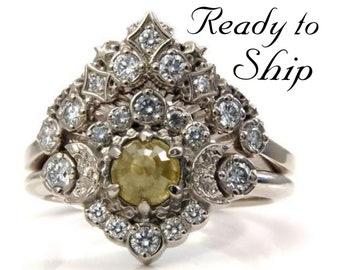 Ready to Ship Size 6 - 8 -Rose Cut Natural Yellow Diamond Engagement Ring with White Diamond Halo -Diamond Stardust  Wedding Band