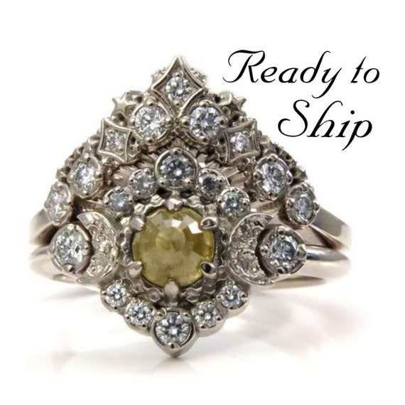 Ready to Ship Size 6 - 8 -Rose Cut Natural Yellow Diamond Engagement Ring with White Diamond Halo -Diamond Stardust  Wedding Band